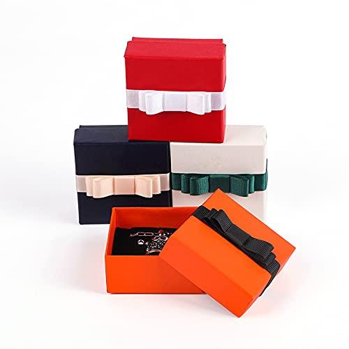 Pulsera de la caja de la joyería del arco del anillo temprano del collar de la caja de la colección del anillo de la caja de los accesorios de la caja de la caja de regalo, de 7.5* 7.5*