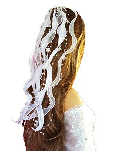 LadyMYP© Kopfschmuck/Haarschmuck/Haarbänder mit Blüten und Perlen Hochzeit Kommunion (Ivory (Hellcreme))