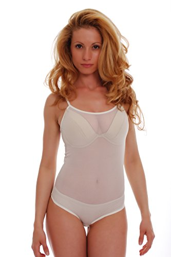 TIARA GALIANO Luxus Mesh Damen Body Dünn Träger Durchsichtig Weste Bikini - Made in EU Leotard Tops 324 - Beige - XXX-Large