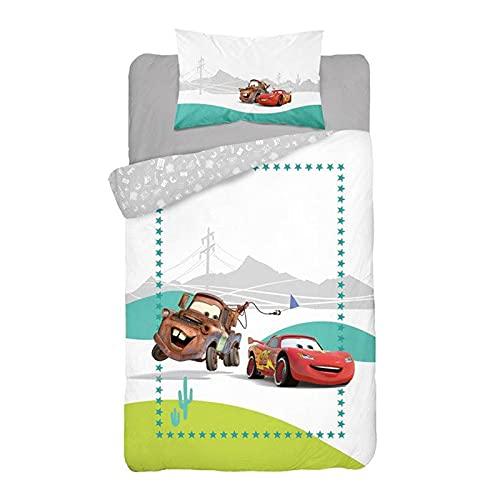 ISS Juego de sábanas para cama individual de niño, 100 x 135 cm, con diseño de Cars, 100 % algodón, para cuna de bebé, 40 x 60 cm