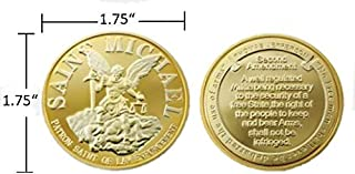 Beall`s Bay Saint Michael`s Gold Polished Steel Challenge Coin | Police Gift | Police Coin | Police Challenge Coin