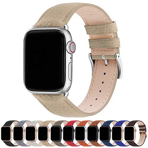 Correa para Apple Watch, Fullmosa Correa de Cuero Compatible con 38 mm 42 mm 40 mm 44 mm, Apple Watch Band para iWatch Series SE/6/5/4/3/2/1, Caqui + hebilla de plata ,38mm/40mm