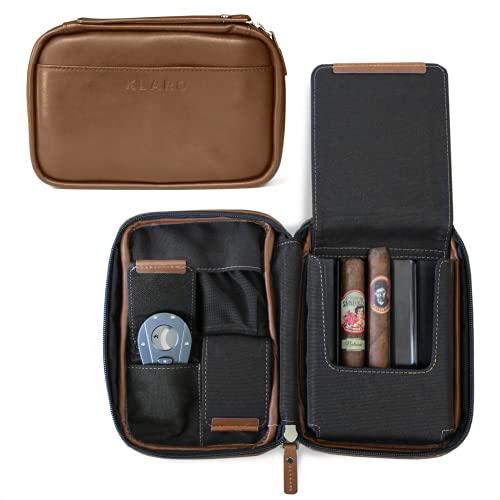 Klaro Travel Leather Cigar Case, 5 Cigar Storage, 2 Accessory Pockets, Humidification Pocket, Internal Hard-Shell Protection - Brown