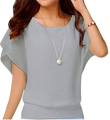 VIISHOW Women's Pure Blouse Short Sleeve Casual Tee Shirts Tunic Tops Grey L