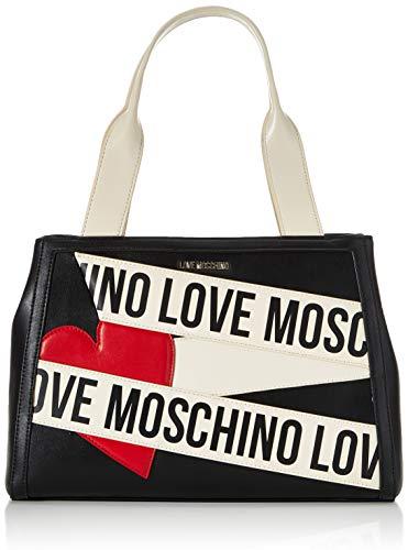 Love Moschino Precollezione FW20, Borsa a Spalla da Donna, Shopper in Pelle PU Logo Scroll, Borse, Nuova Collezione 2020, Nero, Taglia unica