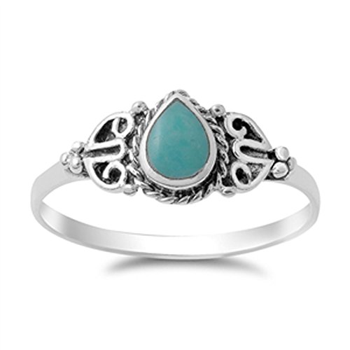 Vintage Celtic Simulated Turquoise Fashion Ring New .925 Sterling Silver Band Size 6