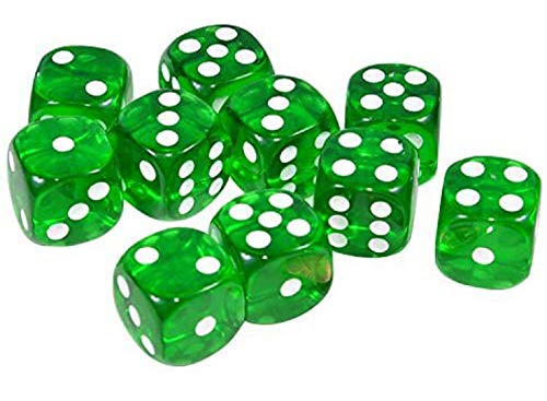 Raincol Set of 10 Six Sided D6 16mm Standard Rounded Translucent Dice Die - Green