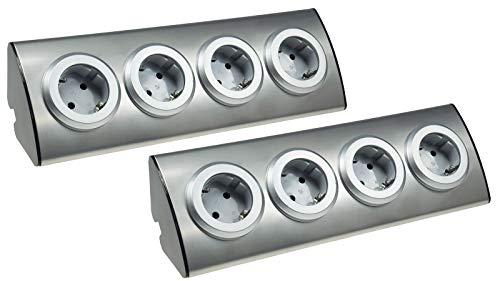 ChiliTec 4-Fach Edelstahl Ecksteckdose mit Schutzkontakt-Steckdosen 230V, 45° Winkel, Innen vorverdrahtet Edelstahl gebürstet I 2 Stück