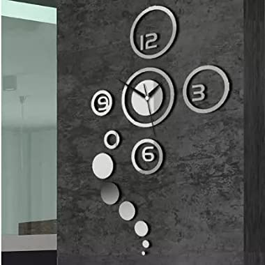 Alrens_DIY(TM)Silver Arabic Numbers Rounds Art Acrylic Non-ticking Quartz Wall Clock DIY 3D Removable Home Decorative Mirror Wall Sticker Modern Design Large Mirrors Gift Living Room Decorative Clock