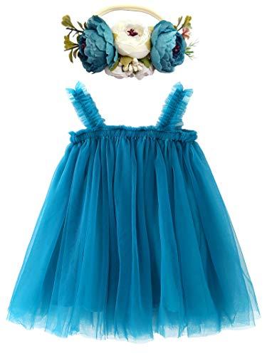 BGFKS Layered Tulle Tutu Dress for Toddler Girls,Baby Girl Rainbow Tutu Princess Skirt Set with Flower Headband.(Blue,2T)