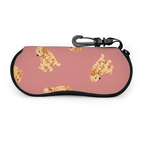 Estuche para gafas Cute Golden Retriever Animal Pet Dog Estuches para anteojos para hombres Art Light Estuche blando de neopreno portátil con cremallera Estuche protector para gafas de sol, 17x8cm