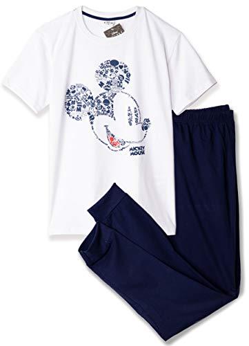 Disney-Lizenzprodukt Nachtwäsche. Mickey Mouse Schlafanzug für Jungen, Herren, T-Shirt und Hose, Jogginghosen-Set, Größe M–XXL Gr. M, weiß/marineblau
