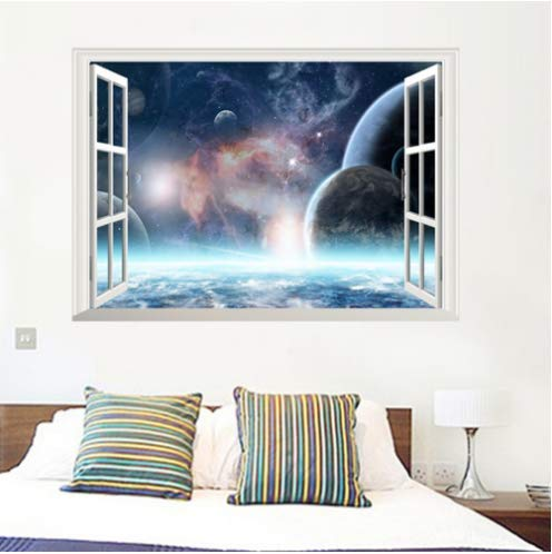 Galaxy Wall Stickers Outer Space Planet Home Wallpaper False Window Scenery Living Room Bedroom Decorations PVC Mural Posters 3D 50 * 70cm