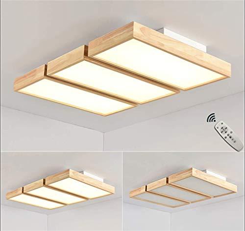 FGH LED dimbare plafondlamp, woonkamer plafondlamp, slaapkamer decoratie groot modern rechthoekig design 3 lampen plafondverlichting houten lamp acryl lampenkap