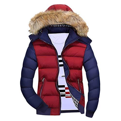 Houshelp Men's Winter Thicken Cotton Coat Puffer Jacket with Fur Hood Casual Outdoor Windbreaker Hiking Jacket Red