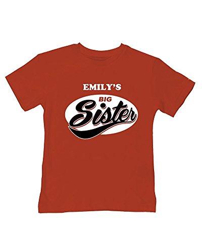 FatCuckoo T-shirt d'été pour bébé garçon Big Sister - Rouge - 2-3 ans