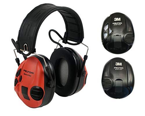 3M Peltor Sporttac - Protector de oídos, color rojo y negro ⭐
