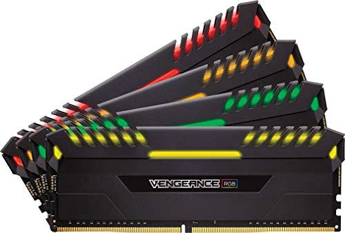Corsair Vengeance RGB 32GB (4 x 8GB) DDR4 3200MHz C16 XMP 2.0 Enthusiast RGB LED-Beleuchtung Speicherkit, schwarz