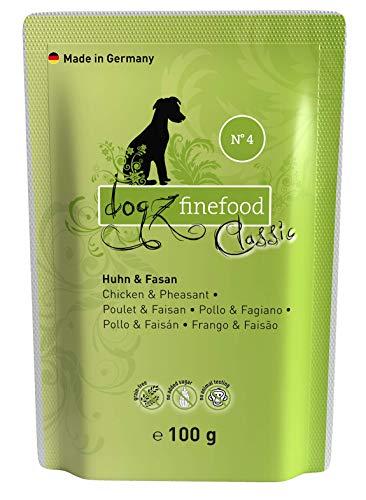 dogz finefood Hundefutter nass - N° 4 Huhn & Fasan - Feinkost Nassfutter für Hunde & Welpen - getreidefrei & zuckerfrei - hoher Fleischanteil, 12 x 100 g Beutel