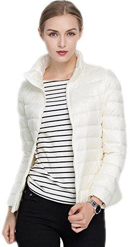 Santimon Donna Giacche Corto Piumino Cappotto Ultraleggeri Trapuntato Packable Inverno Giacca Bianco Small