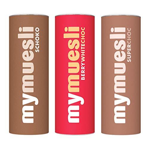 mymuesli Schoko-Müsli Probierpaket - Super-Choc-Müsli (575g) - Berry-White-Choc (575g) - Schoko-Müsli (575g) - 100% Bio-Müsli