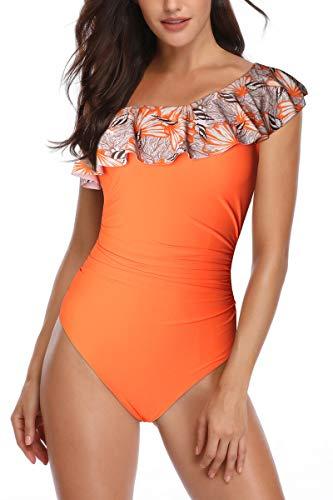Heat Move Women's One Piece Swimsuit One Shoulder Asymmetric Swimwear Ruffle Flounce Bathing Suits(Orange,M)