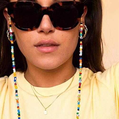 IYOU Boho-Perlen-Brillenkette, mehrfarbige Perlen-Brillenkette, Brillenkordel für Strand, Straße, Shot, Sonnenbrillenkette, Anti-Verlust, Brillenzubehör für Frauen und Mädchen
