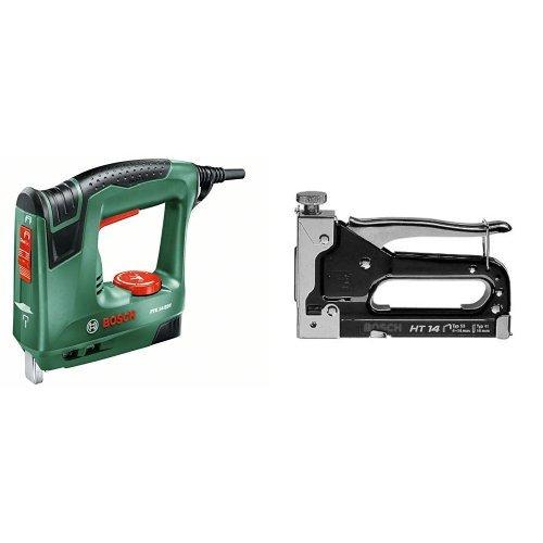 Bosch PTK 14 - Grapadora eléctrica válida para grapas y clavos (240 W, 240 V) color verde + Grapadora manual HT 14