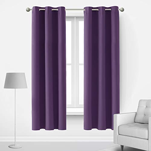Deconovo Grommet Blackout Curtains Room Darkening Window Drapes Light Filtering Cold and Heat Blocking Window Curtains for Teen Bedroom Set of 2 Each Panel 42x72 Inch Purple Grape