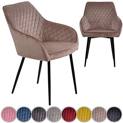 iomangio® Esszimmerstühle 2er Set | Taupe Esszimmerstuhl mit Armlehne Küchenstuhl | Polsterstuhl Design Stuhl mit Rückenlehne, mit Sitzfläche aus Samt/Stoffbezug | Gestell aus Metall | Samt Stühle