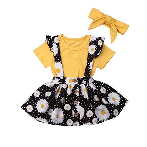 wuayi  Baby Mädchen Kleidung, Mädchen Kurzarm Solide T-Shirts + Blumendruck Rock + Haarband kinderkleidung für Mädchen Outfits 6 Monate - 3 Jahre