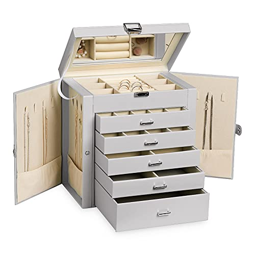 Frebeauty Large Jewelry Box,6-Tier PU Leather Jewelry Organizer with Lock,Multi-functional Storage Case with Mirror,Accessories Holder with 5 Drawers for Earrings Necklace Bracelets Watches and Sunglasses for Women Girls(Grey)