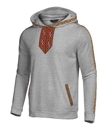 COOFANDY Men's Hip Hop Hoodies Tribal Style Pullover African Dashiki Sweatshirts Outwear Gray