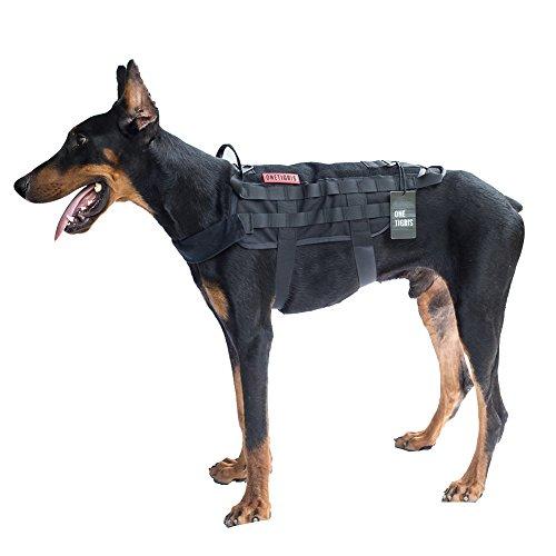 OneTigris Taktische MOLLE Weste Geschirr Hundegeschirr Hundeausbildung (Schwarz, M/41cm) |MEHRWEG Verpackung
