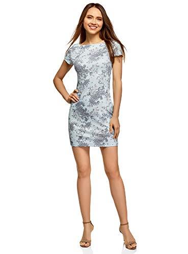 oodji Ultra Damen Kleid aus Strukturiertem Stoff mit U-Boot-Ausschnitt, Grün, DE 42 / EU 44 / XL