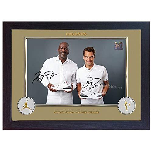 SGH SERVICES Autogramm Michael Jordan Roger Federer NBA Tennis Memorable signiert Basketball Memorabilia NBA Autogramm Foto Druck gerahmt MDF-Bilderrahmen Fotodruck unvergesslich