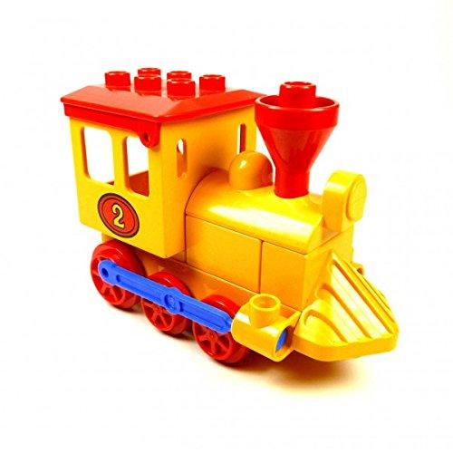 LEGO Duplo Eisenbahn Nr 2 gelb Schiebelok gelb mit rotem Dach Lok Zug 4580 E38
