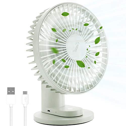 USB-Schreibtischventilator, Entil Geräuscharmer Lüfter Kühlventilator mit 3 Geschwindigkeiten, Tragbarer Lüfter mit Leisem Stärkerem Luftstrom, 90° Drehung, Starke Klemme Fan für die Reise Hause