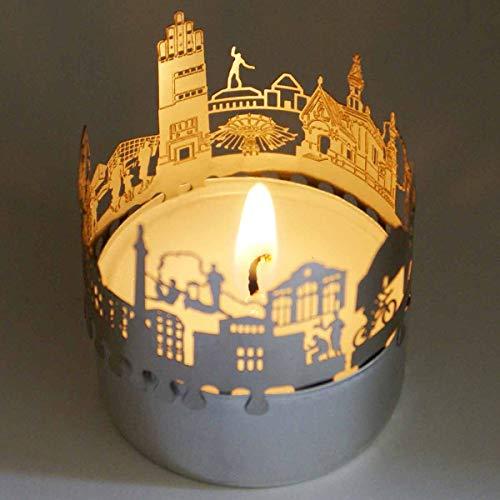 13gramm Darmstadt-Skyline Windlicht Schattenspiel Souvenir, 3D Edelstahl Aufsatz für Kerze inkl. Karte