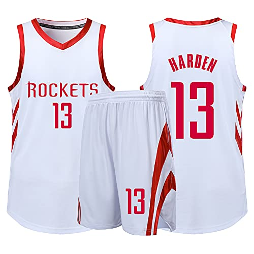 Camiseta de Baloncesto NBA Legend para Hombre - Houston Rockets # 13 James Harden Uniforme de Baloncesto Camisa Bordada Chaleco Shorts Set Swingman Jersey, White-M (155~160cm)