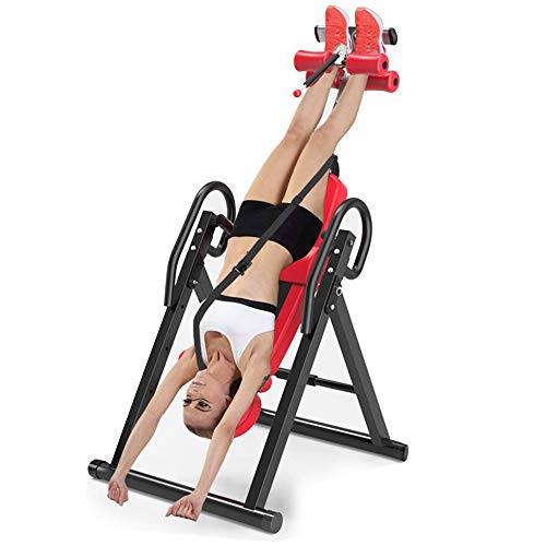 Tengma Gravity Heavy Duty Inversion Table with Headrest & Adjustable Protective Belt Back Stretcher Machine for Pain Relief Therapy Fitness Chiropractic Back Reflexology Mat (Red)
