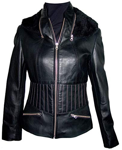 M Size 4031 Best Cool Motorcycle Leather Jackets Womens Stylish Soft Lamb Black