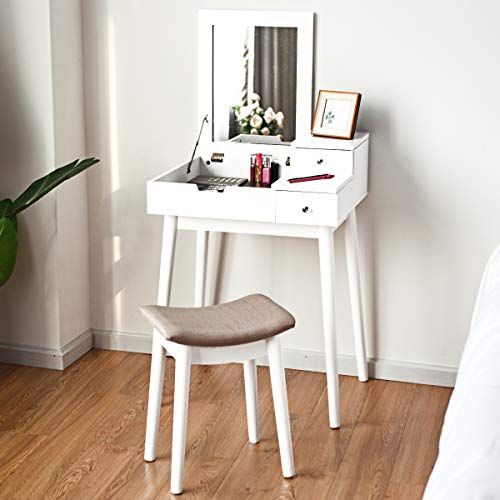 Giantex Vanity Table Set with Flip Top Mirror and Cushioned Stool, Folding Top Flip Mirrored Large Storage Organizer for Home Bedroom Bathroom, Makeup Dressing Table Set with 2 Drawers, White