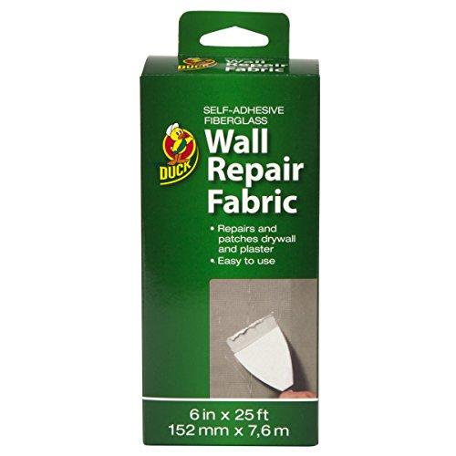 Duck Brand 282084 Self-Adhesive Drywall Repair Fabric, 6-Inch by 25 Feet, Single Roll , White