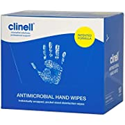 Clinell - Antibacterial Hand Wipes Suitable for Hands and Surfaces - Dermatologically Tested, Kills 99.999% of Germs - Pack of 100 Individual Wipes