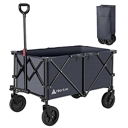 Hikenture Folding Wagon Cart, Portable Large Capacity Beach Wagon, Heavy Duty Utility Collapsible Wagon with All-Terrain Wheels, Outdoor Garden Cart Foldable Wagon for Sports, Shopping, Camping (Grey)