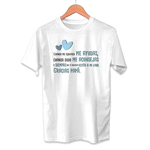 Muy Chulo Camiseta Gracias Papá Dia del Padre - Unisex Tallas Adultas e Infantiles - Frase motivadora - Regalo Original para Papá (L)