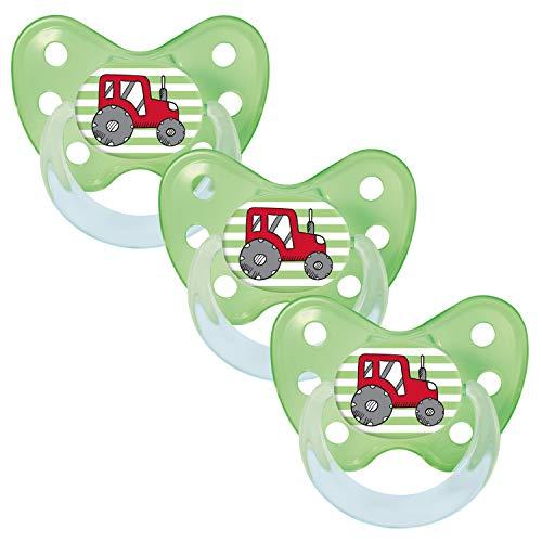 Dentistar® Schnuller 3er Set - Silikon Nuckel in Gr. 3 - ab 14 Monate - zahnfreundlich & kiefergerecht - Beruhigungssauger für Babys und Kleinkinder - Made in Germany - BPA frei - Trecker gruen