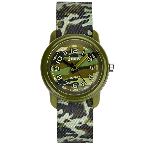 Reloj niño Reloj niños niña Zeiger Reloj para niñas Reloj para niña pedagógico Reloj Maestro Hora Lectura fácil Nylon KW122 Verde Camuflaje