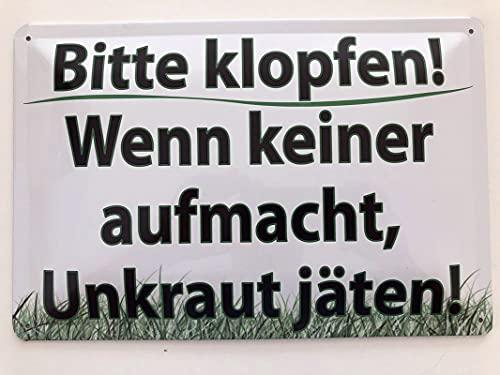 Metall Schild 20x30cm Bitte klopfen! Unkraut jäten! Garten Tin Sign